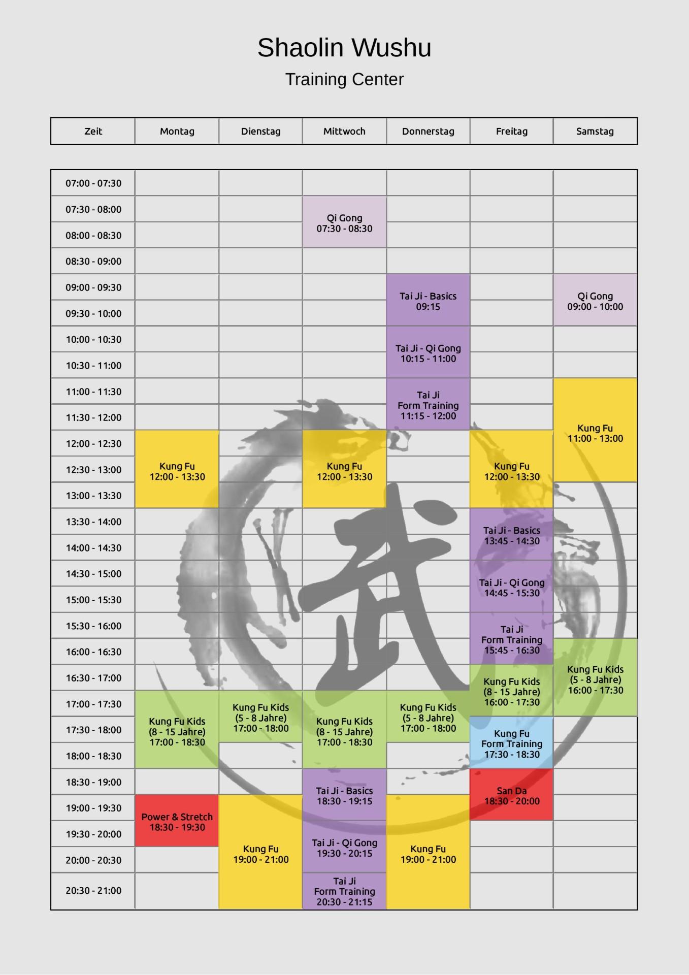 Shaolin Wushu Training Center - Kung Fu in Wien - Trainingsplan